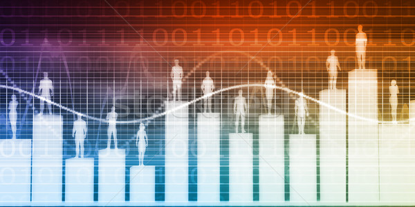 Mensen permanente staafdiagram verschillend business achtergrond Stockfoto © kentoh