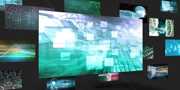 Számítástechnika eladó marketing absztrakt számítógép fal Stock fotó © kentoh