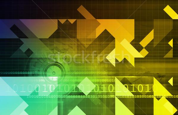 Stock fotó: Bináris · adat · folyam · nyilak · digitális · absztrakt