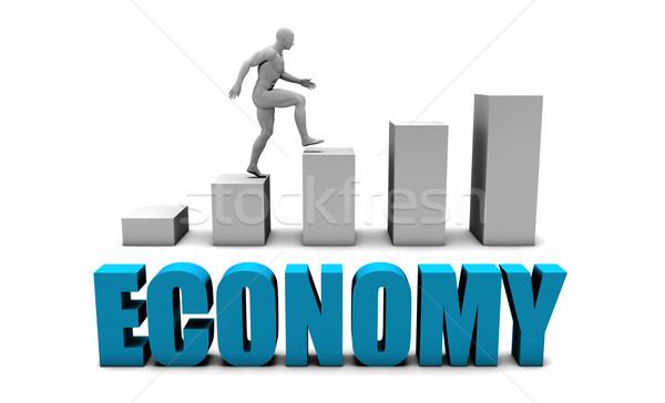 Gospodarki 3D niebieski wykres słupkowy wykres edukacji Zdjęcia stock © kentoh