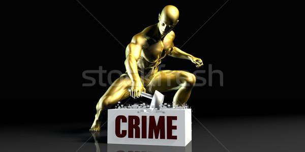 Bűnözés tömés fekete arany kalapács személy Stock fotó © kentoh