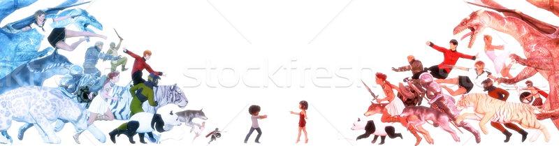 Canlı hayal çocuklar fantezi dünya arkadaşlar Stok fotoğraf © kentoh