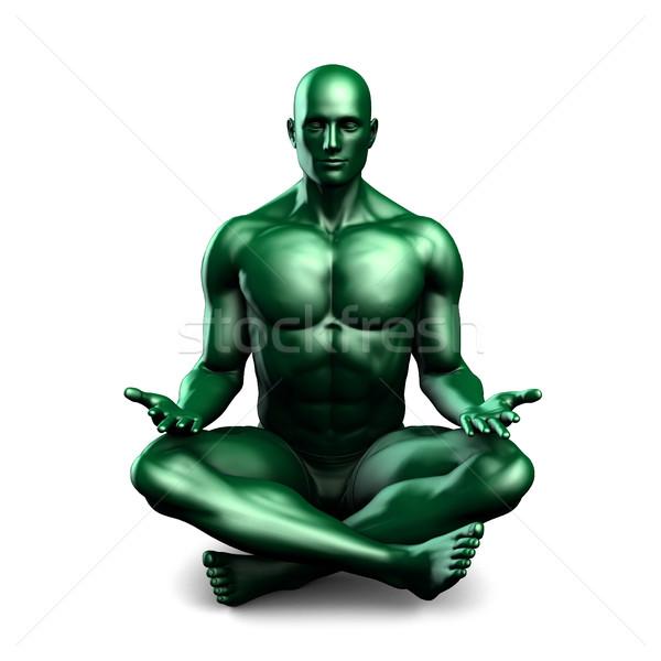 Lótusz pozició használt jóga sportok szépség Stock fotó © kentoh