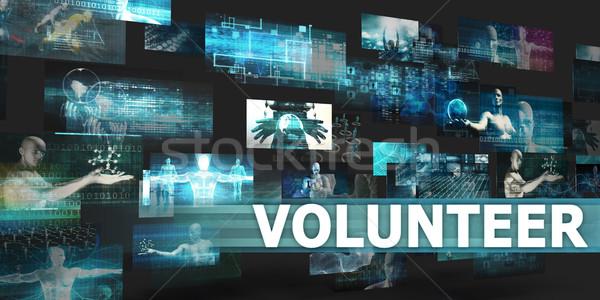 Wolontariusz prezentacji technologii streszczenie sztuki Internetu Zdjęcia stock © kentoh