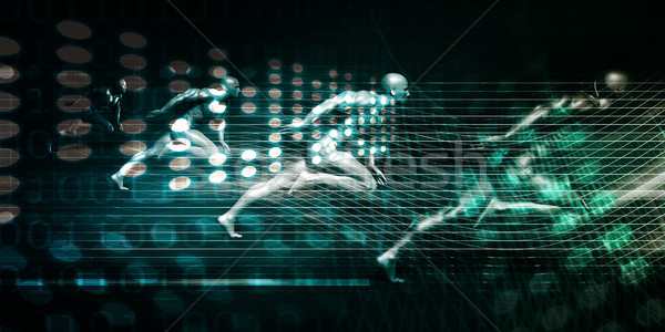 Intégration technologie futuriste plate-forme art ordinateur Photo stock © kentoh