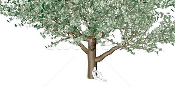 Stockfoto: Dollar · bladeren · groeiend · boven · geld
