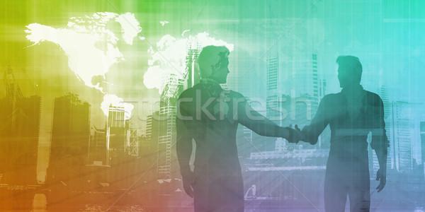 Bankügylet pénzügy férfiak kézfogás kezek absztrakt Stock fotó © kentoh