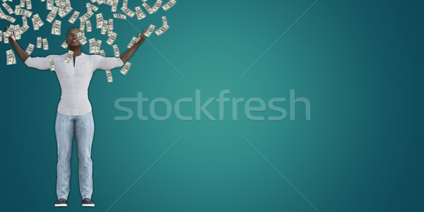 Black Man Catching Money Falling From the Sky Stock photo © kentoh
