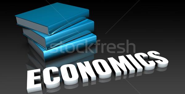 Közgazdaságtan osztály iskola oktatás könyv könyvek Stock fotó © kentoh