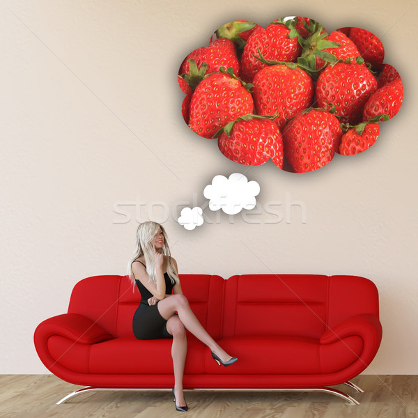 Woman Craving Strawberries Stock photo © kentoh