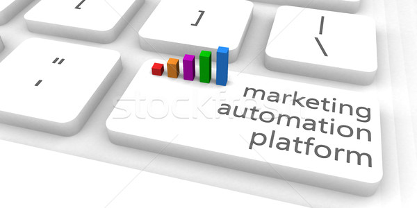 Marketing automatisation plate-forme carte clavier bar Photo stock © kentoh