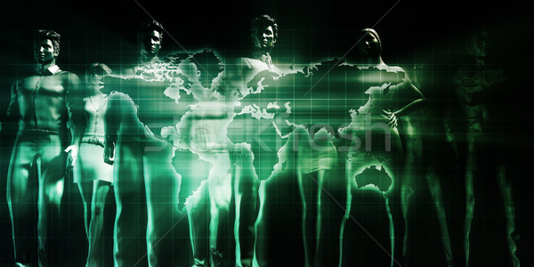 Distribución red global arte mundo Foto stock © kentoh