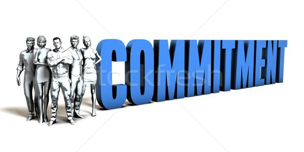 Elkötelezettség üzlet férfiak kék ipar csapat Stock fotó © kentoh