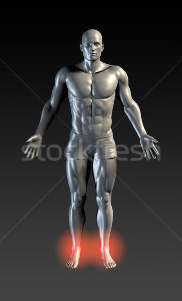 лодыжка травма красный свечение медицинской спортивных Сток-фото © kentoh