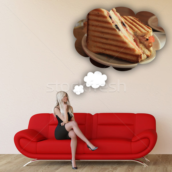 Woman Craving Grilled Sandwich Stock photo © kentoh