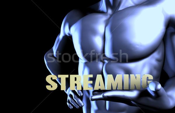 Stockfoto: Streaming · zakenman · man · achtergrond · zakenman