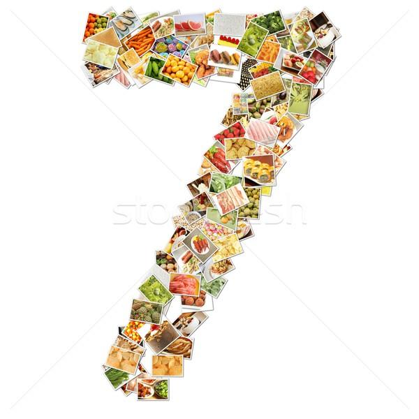 Stok fotoğraf: Numara · yedi · gıda · kolaj · sanat · kitap