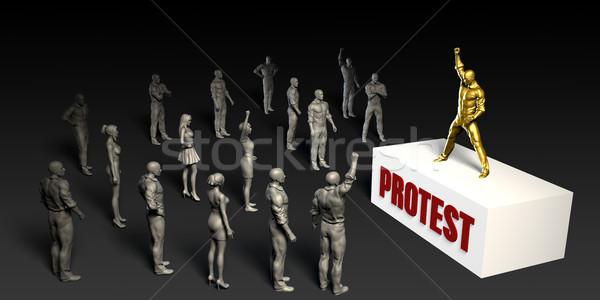 Tiltakozás verekedés férfi nők tömeg férfiak Stock fotó © kentoh