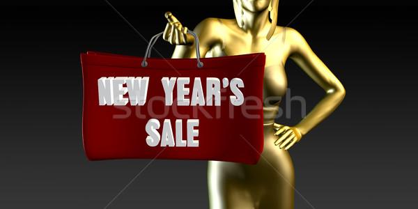 Новый год продажи продажи Специальное мероприятие черный улыбаясь Сток-фото © kentoh