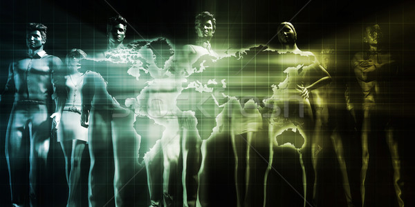 Stockfoto: Distributie · netwerk · globale · kunst · wereld