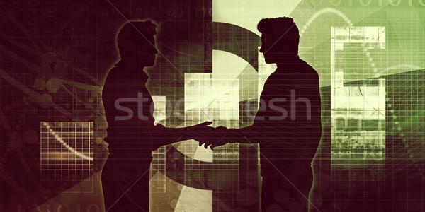 Stock fotó: üzleti · partnerek · kézfogás · sziluett · üzlet · absztrakt · férfiak