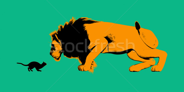 Cat Versus Lion Stock photo © kentoh