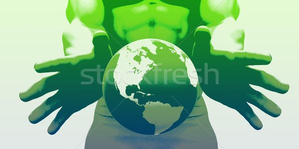 Wereldwijde business markt leider bedrijf man wereld Stockfoto © kentoh