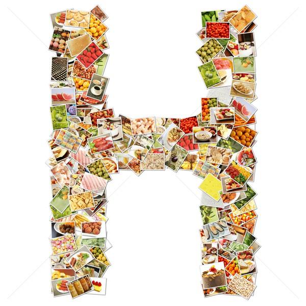 Lettre h police forme alphabet collage affaires Photo stock © kentoh
