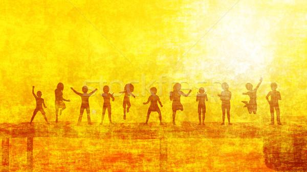 Gyermekkor emlékek gyerekek játszik csoport tengerpart Stock fotó © kentoh