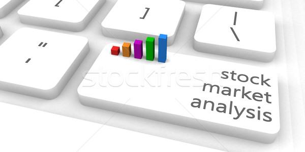 Bourse analyse clavier bar industrie clé Photo stock © kentoh