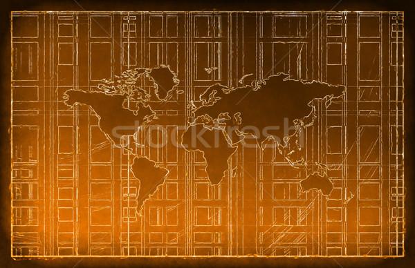 Világutazás tábla rajz terv világ felirat Stock fotó © kentoh