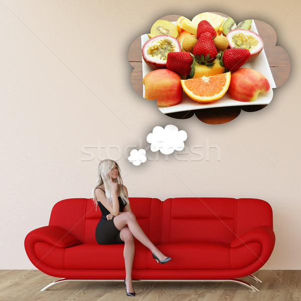 Woman Craving Fruits Stock photo © kentoh
