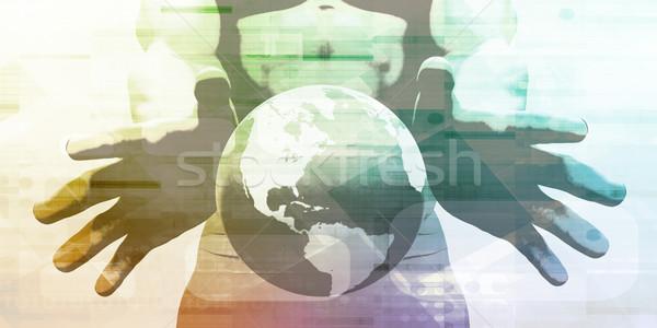 Futurisztikus művészet absztrakt digitális technológia technológia hálózat Stock fotó © kentoh