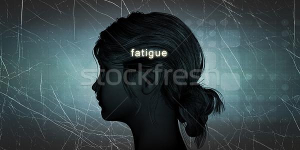 Kadın karşı yorgunluk kişisel meydan okumak mavi Stok fotoğraf © kentoh