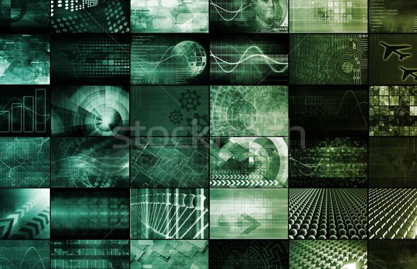 Globale tecnologia digitale texture telefono muro abstract Foto d'archivio © kentoh