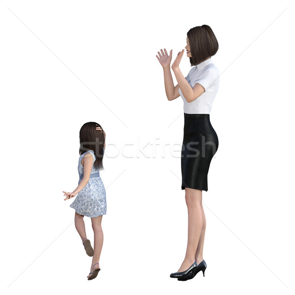 Mother Daughter Interaction of Girl Posing as Model Stock photo © kentoh