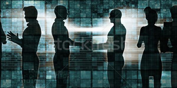 Foto stock: Empresarios · apretón · de · manos · silueta · ilustración · manos · tecnología