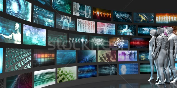 Videofal absztrakt üzletemberek néz fal film Stock fotó © kentoh