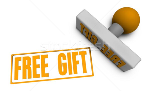 Szabad ajándék bélyeg kotlett papír 3D Stock fotó © kentoh