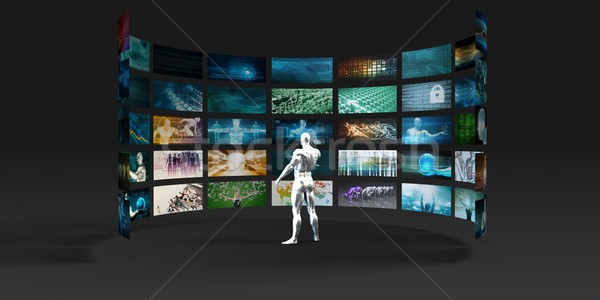 Video marketing meervoudig business web schrijven Stockfoto © kentoh