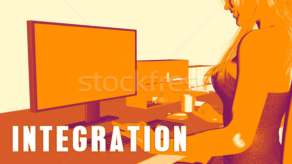 Integración mujer mirando ordenador negocios educación Foto stock © kentoh