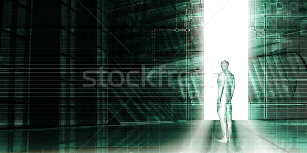 Homme permanent technologie portail affaires internet Photo stock © kentoh