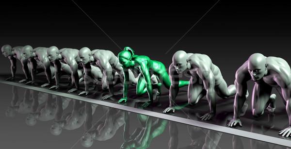 Egyedüli női versenyző férfiak verseny iroda Stock fotó © kentoh