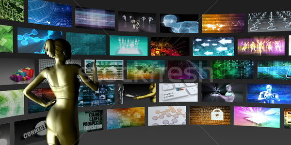 Video streaming technologie dame kijken business Stockfoto © kentoh