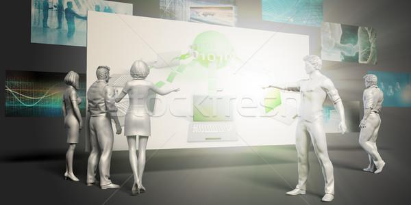 Database gestione virtuale presentazione sfondo monitor Foto d'archivio © kentoh