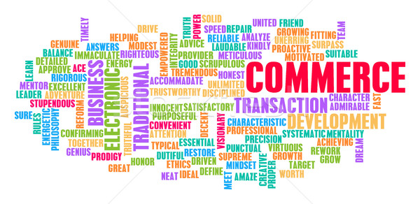 Commerce woordwolk witte oranje groene Blauw Stockfoto © kentoh