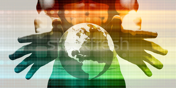 интеграция сеть рук технологий мира Сток-фото © kentoh