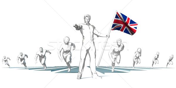 Királyság versenyzés jövő férfi tart zászló Stock fotó © kentoh