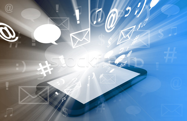 Touchscreen Downloading Apps Cloud Computing Stock photo © kentoh