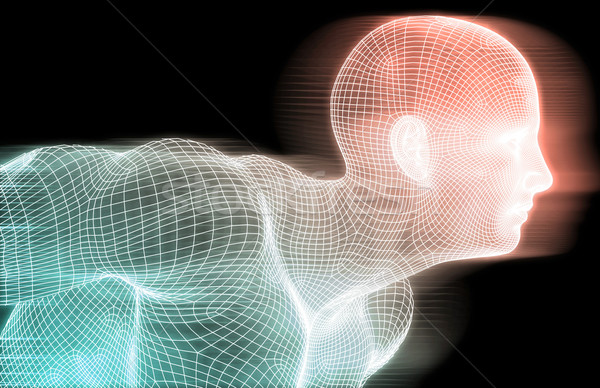 人工知能 線 グリッド 男 抽象的な ストックフォト © kentoh